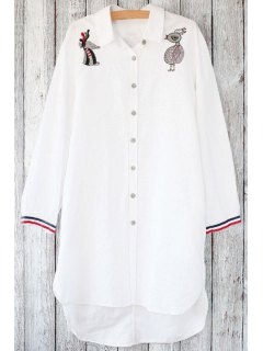 Loose Animal Embroidered Shirt Collar Long Sleeve Shirt - White