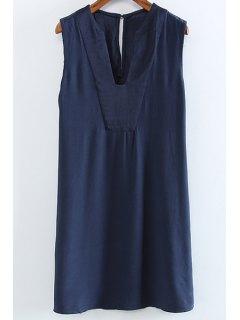 Solide Couleur V-Neck Manches Cut Out Dress - Bleu Violet M