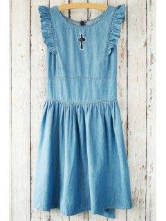 Flounce Ruffles Hollow Out Round Neck Sleeveless Dress - Blue