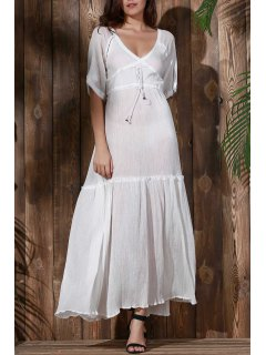 Open Back Tiered Flowing Dress - White L