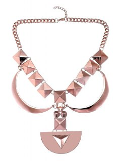 Geometric Design Sweater Chain - Rose Gold