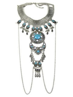Fashionable Chunky Turquoise Fake Collar Necklace For Women - Silver