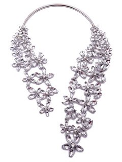Rhinestone Faux Crystal Floral Torque Necklace - White