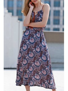 Paisley Print Spaghetti Straps Dress - Purple 2xl