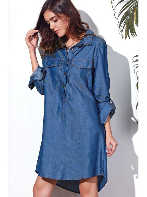 outfit Button Design Rolled Up Sleeve Shirt Dress - BLUE M Mobile