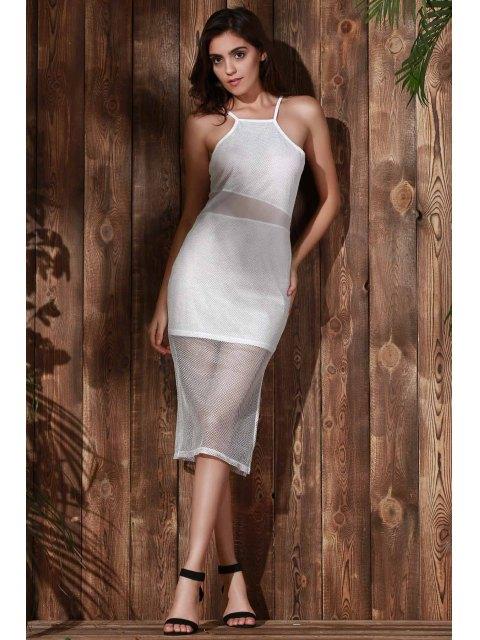 best Double-Layered Spaghetti Straps Beach Dress - WHITE S Mobile