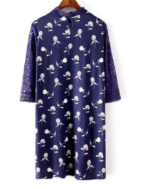 womens Lace Sleeve Printed Shift Dress - BLUE S Mobile