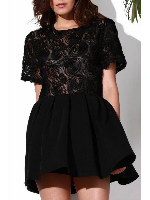 womens Flower Pattern See-Through Skate Dress - BLACK XL Mobile