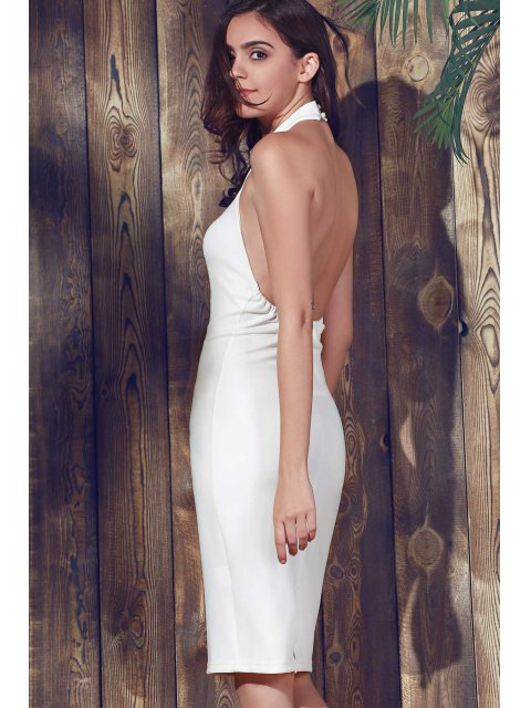 lady Halter Sleeveless Sheath Midi Dress - WHITE 2XL Mobile