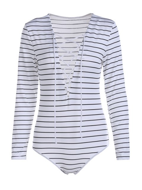 sale Striped Plunging Neck Long Sleeve Lace Up Bodysuit - WHITE L Mobile