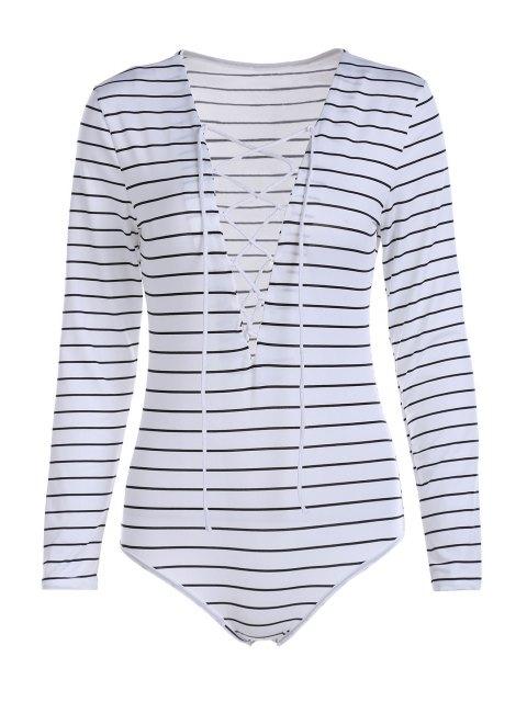 Combinaison à lacets à manches longues à rayures - Blanc XL Mobile