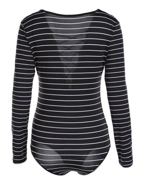 chic Striped Plunging Neck Long Sleeve Lace Up Bodysuit - BLACK XL Mobile