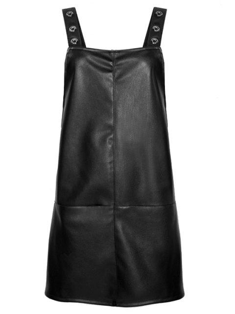 ladies Black PU Leather Suspender Dress - BLACK S Mobile