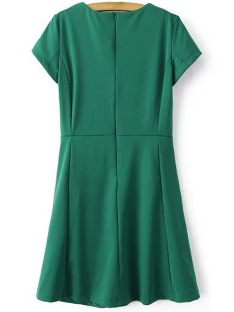 womens Green Round Neck Short Sleeve Dress - GREEN L Mobile