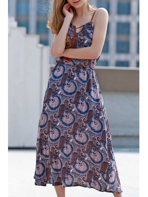 best Paisley Print Spaghetti Straps Dress - PURPLE 2XL Mobile
