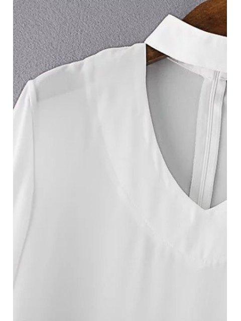 buy V Neck Flared Sleeve Choker Blouse - WHITE L Mobile
