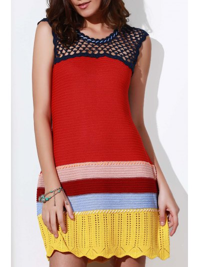 Crochet Cut Out Round Neck Sleeveless Dress - Red One Size(fit Size Xs To M)