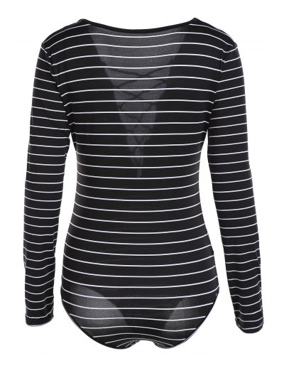 Striped Plunging Neck Long Sleeve Lace Up Bodysuit - BLACK M Mobile