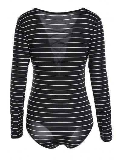 Striped Plunging Neck Long Sleeve Lace Up Bodysuit - BLACK L Mobile