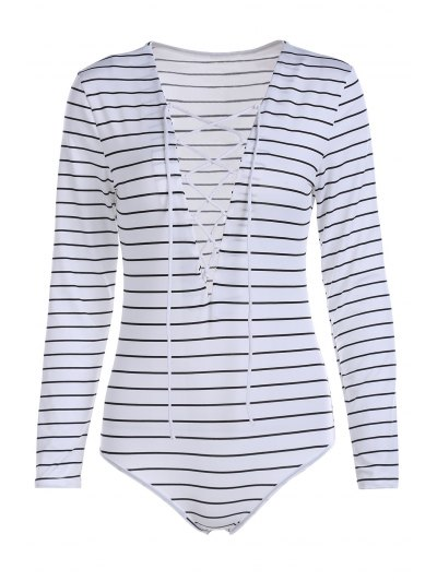 Striped Plunging Neck Long Sleeve Lace Up Bodysuit - WHITE L Mobile