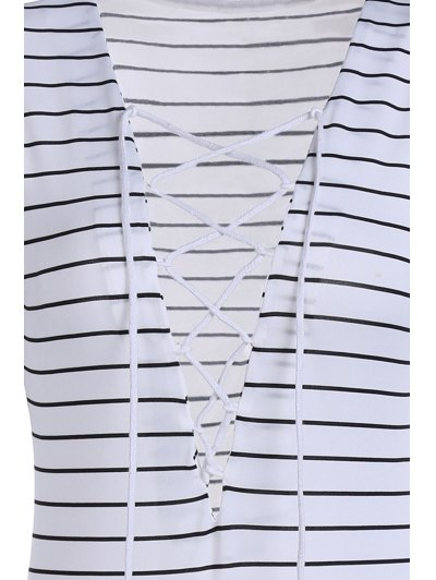 Striped Plunging Neck Long Sleeve Lace Up Bodysuit - WHITE XL Mobile