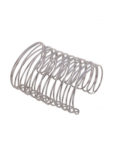 Chunky Characteristic Cuff Bracelet - SILVER  Mobile