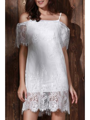 See-Through Off The Shoulder Lace Dress - White