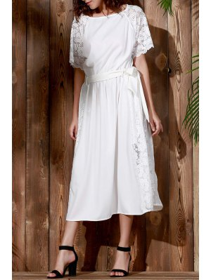 Combined Lace Flare Sleeve Dress - White