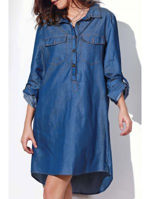 Button Design Rolled Up Sleeve Shirt Dress - Blue