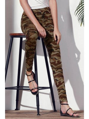 Camoflage Skinny Leggings - Army Green