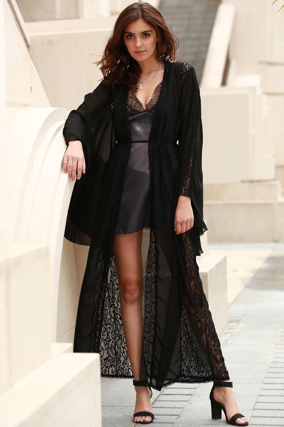 Open Front Kimono Sleeve Lace Detail Extra-Long Chiffon Blouse