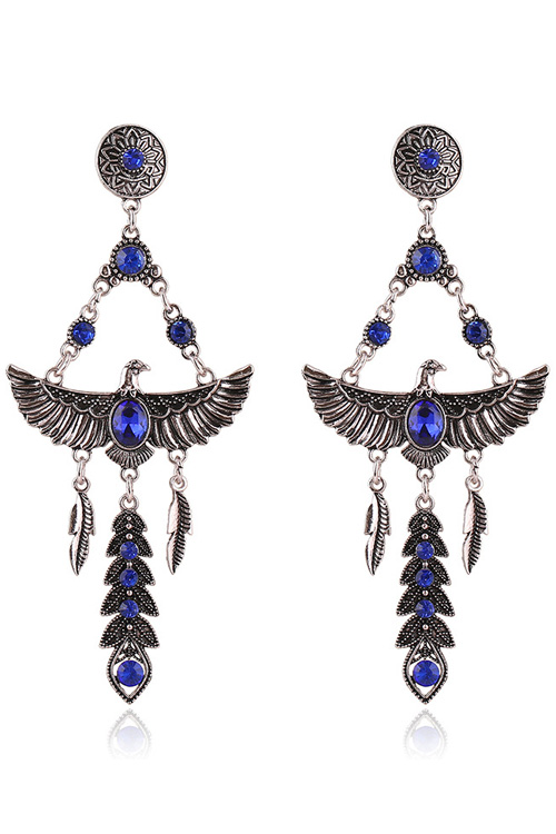 Pair of Stylish Faux Crystal Decorated Eagle Earrings For Women
