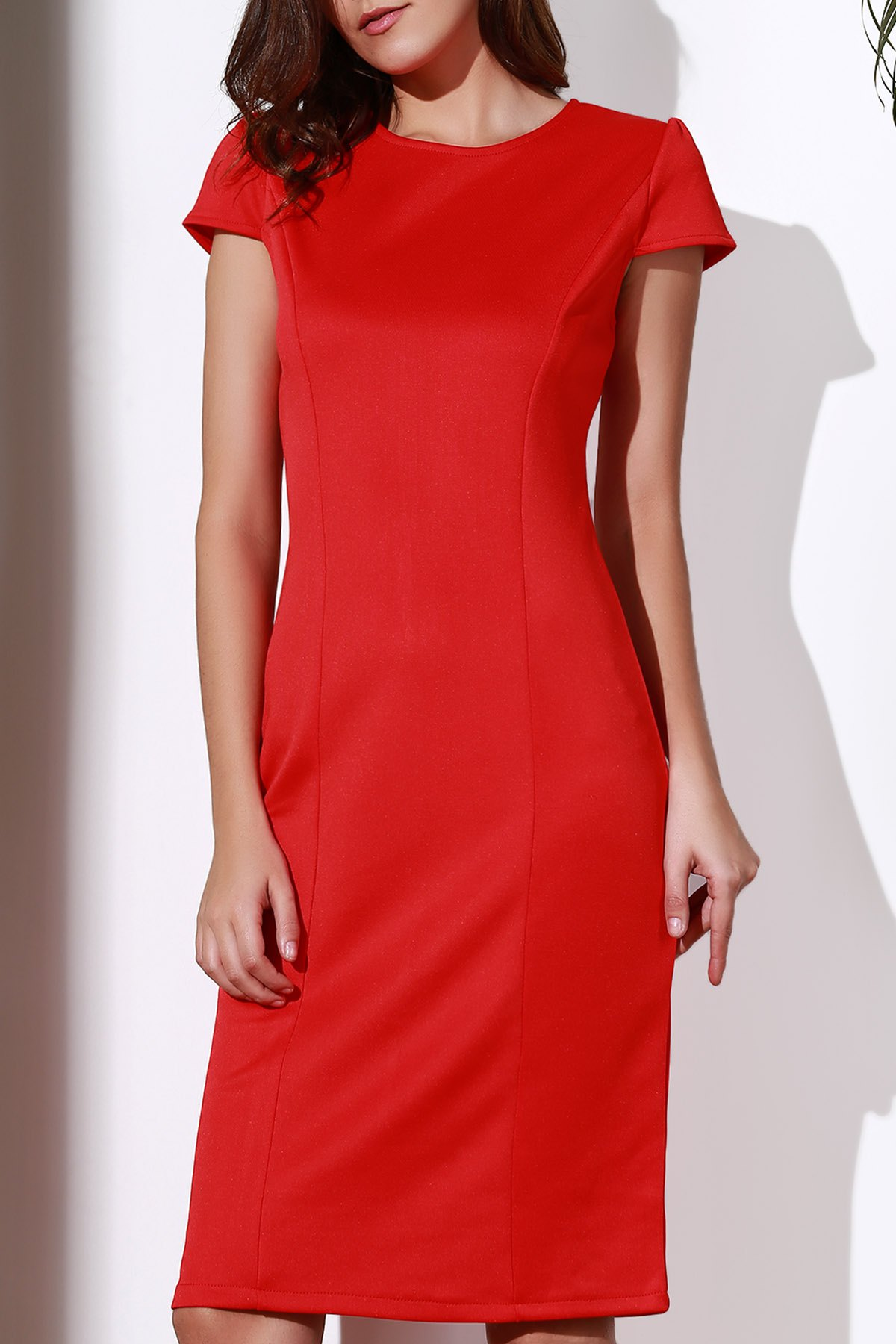Round Neck Sleeveless Red Pencil Dress