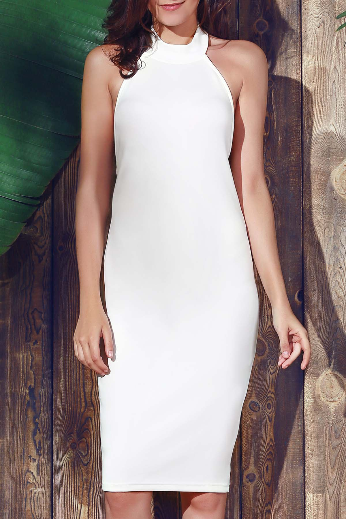 Halter Neck Sleeveless Sheath Midi Dress