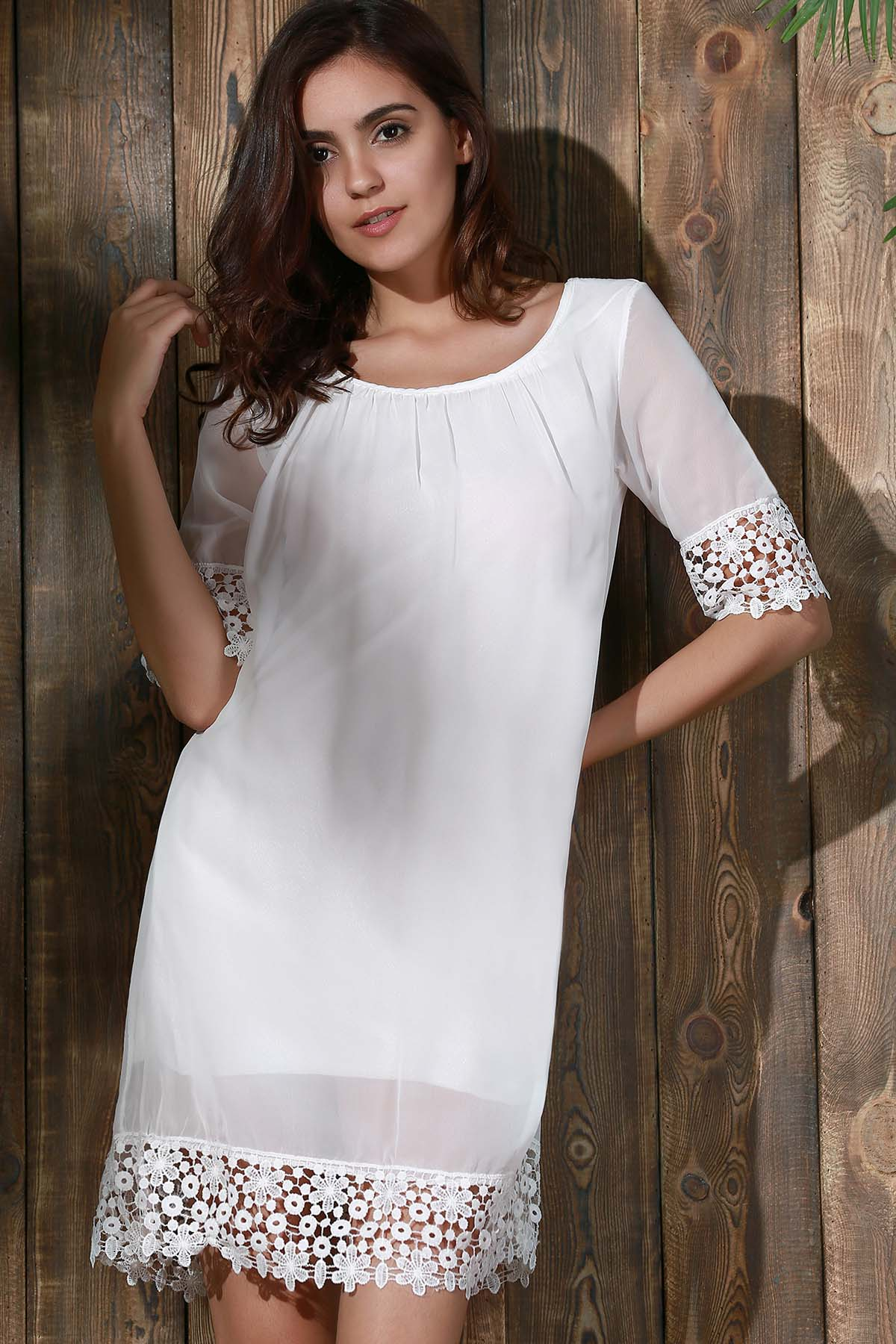 Scoop Neck Half Sleeve Lace Splice Dress