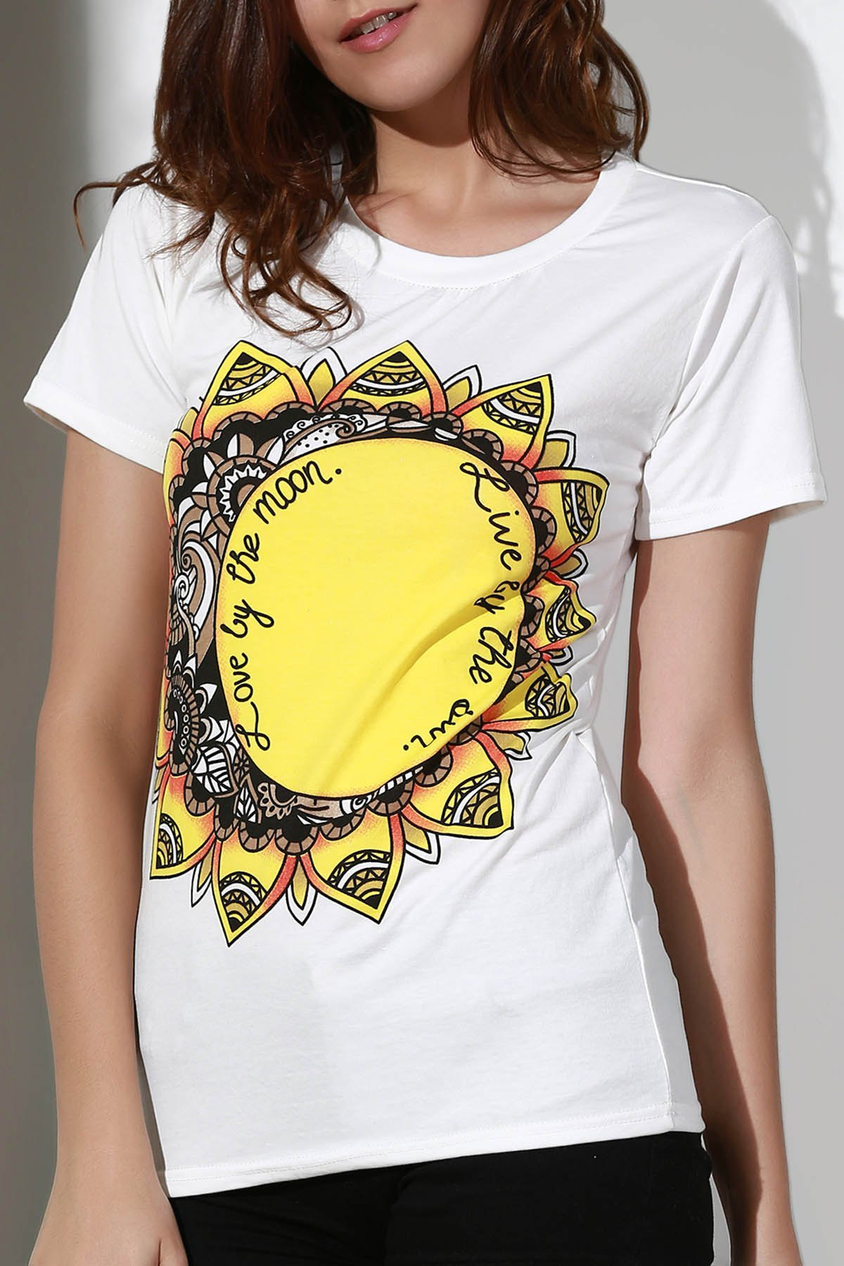 Sunflowers Print Round Neck Short Sleeve T-Shirt