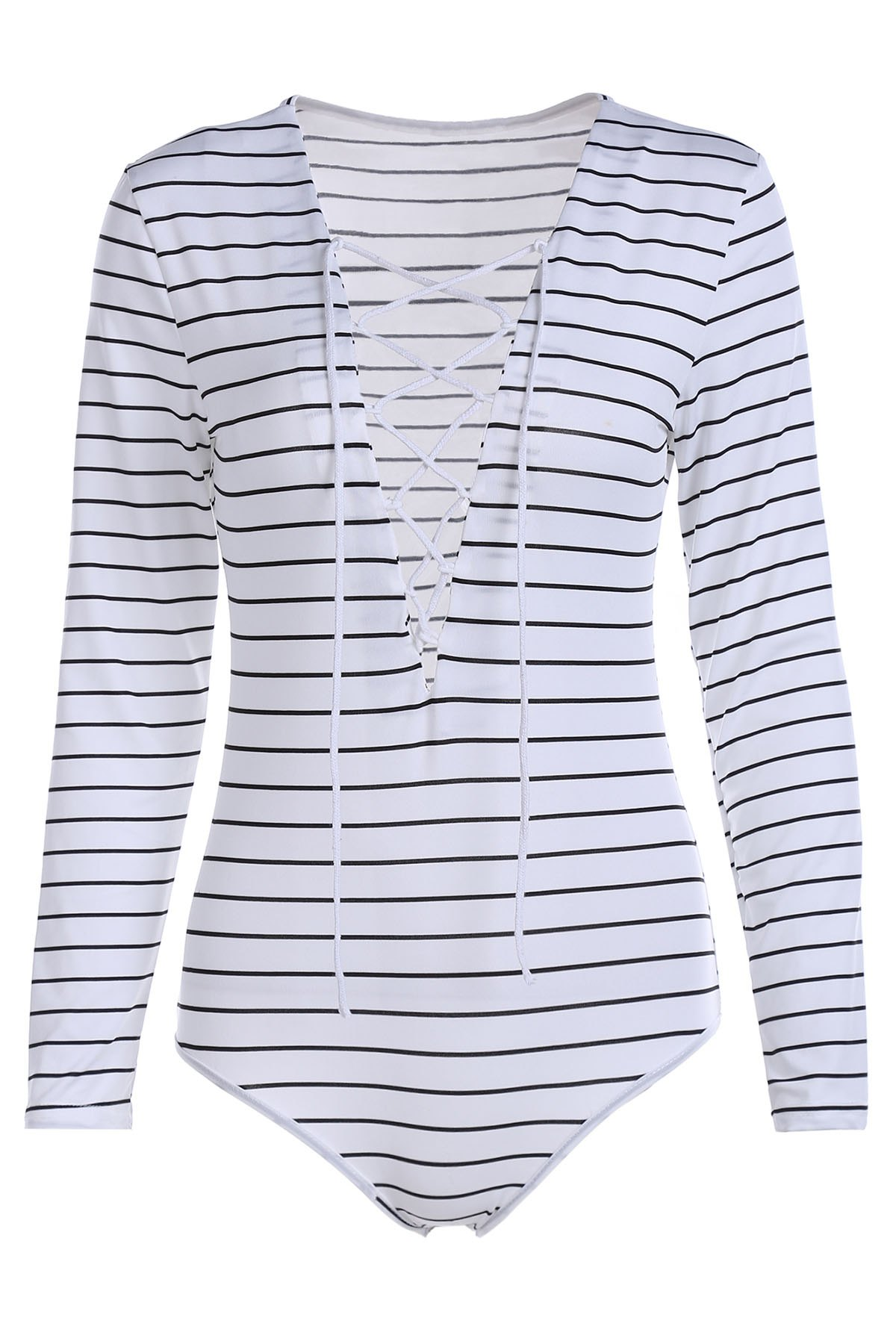 Striped Plunging Neck Long Sleeve Lace Up Bodysuit