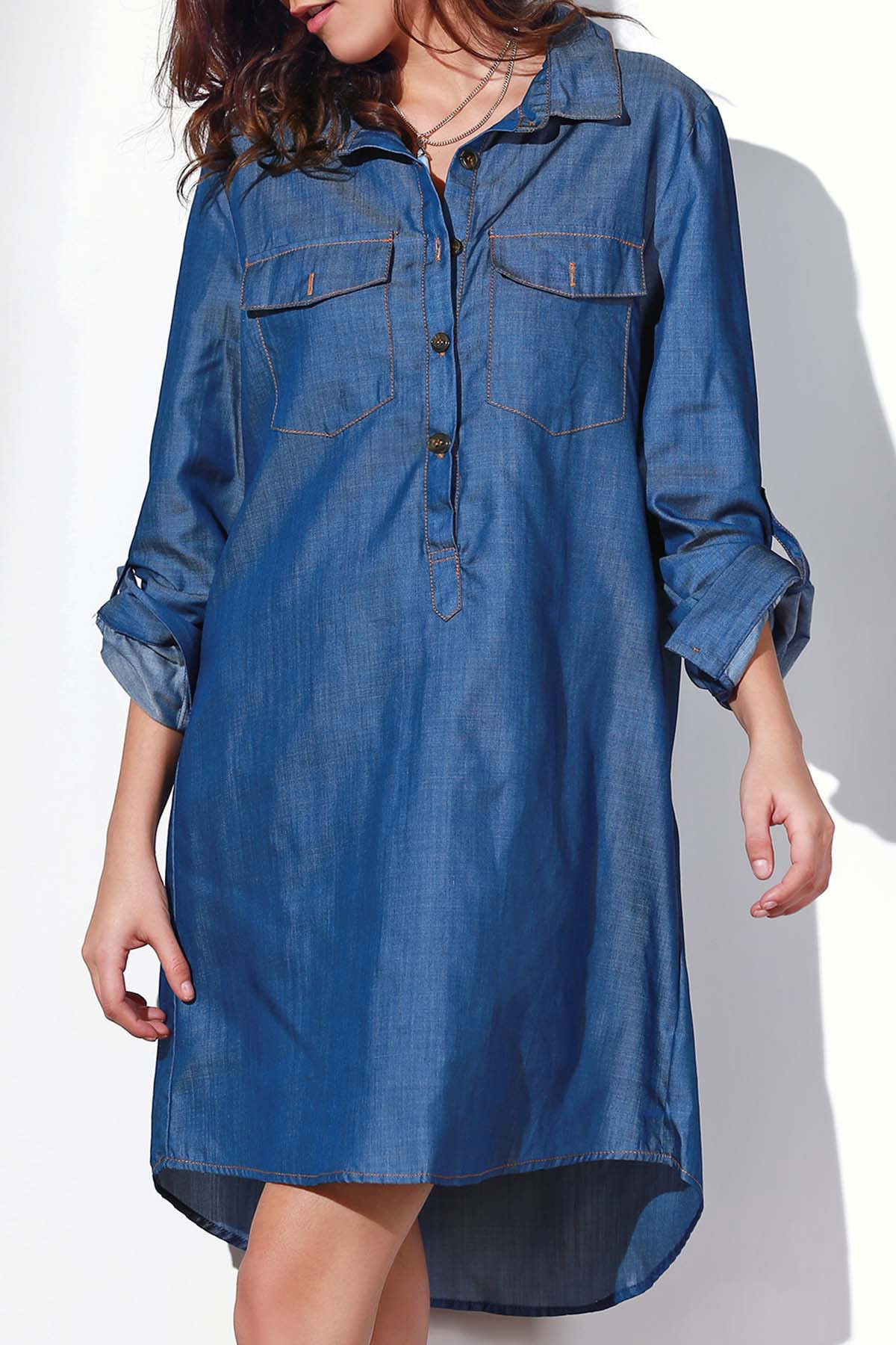 Rolled Up Sleeve Button Design Shirt Dress