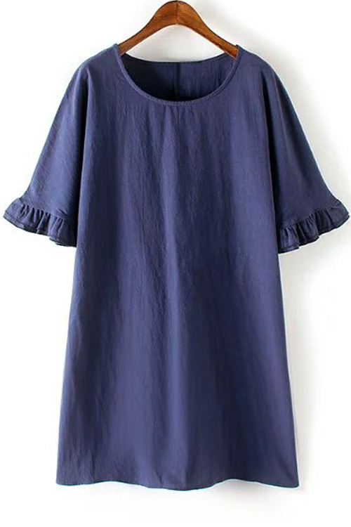 Round Neck Bell Sleeve A-Line Ruffle Dress