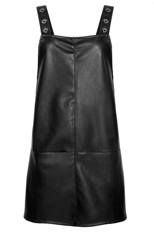 PU Leather Black Suspender Dress