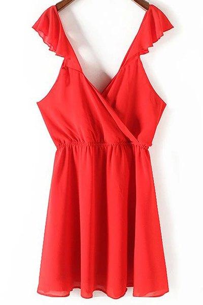 Red Ruffles Plunging Neck Chiffon Dress 174948003