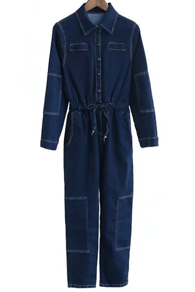 Turn Down Collar Long Sleeve Deep Blue Denim Jumpsuit