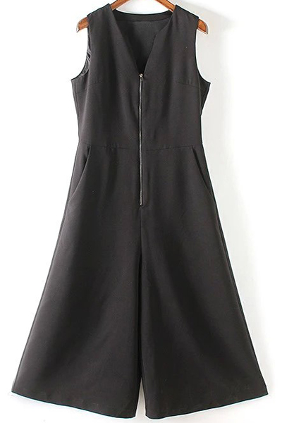 V Neck Sleeveless Black Wide Leg Jumpsuit