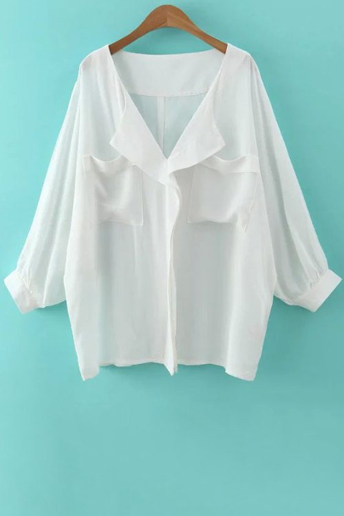V Neck Long Sleeve White Loose Blouse