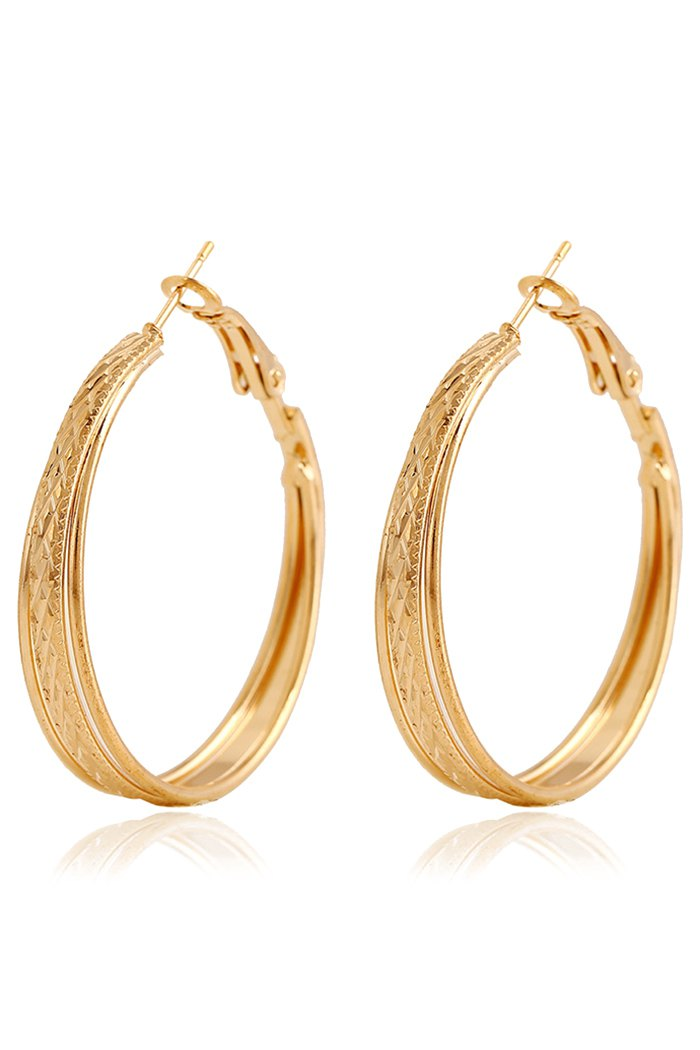 Rhombus Carving Hoop Earrings