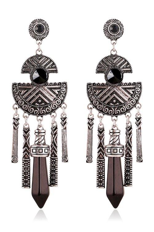 Faux Gemstone Tassel Earrings