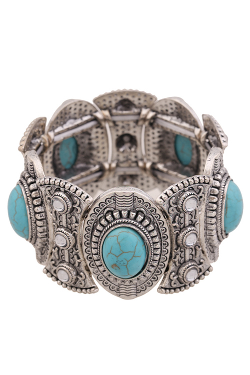 Turquoise Oval Elastic Bracelet