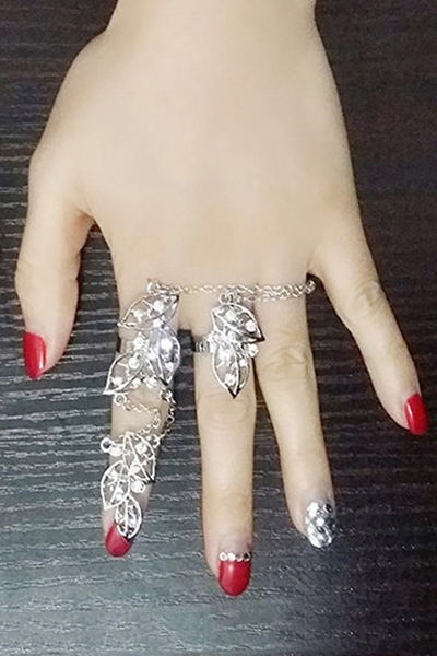 Chic Rhinestone Foliage Ring For Women