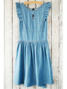 Buy Flounce Ruffles Hollow Round Neck Sleeveless Dress - BLUE ONE SIZE(FIT SIZE XS TO M)