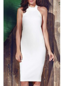 Halter Sleeveless Sheath Midi Dress - White L